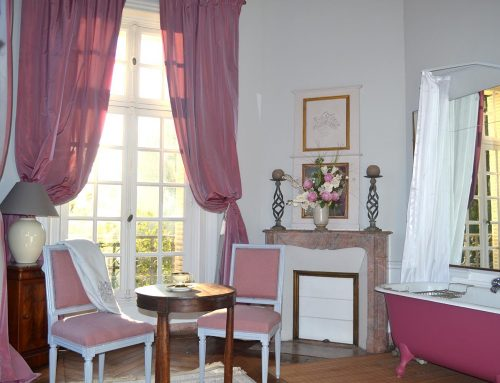 The chateau's pink bathroom